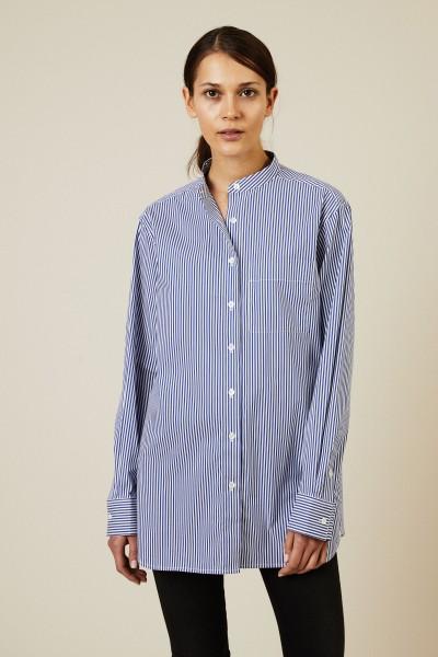 Gestreifte Bluse mit Stehkragen Blau/Weiß