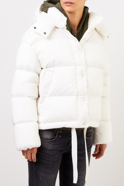 Moncler Short down jacket with hood Cream
