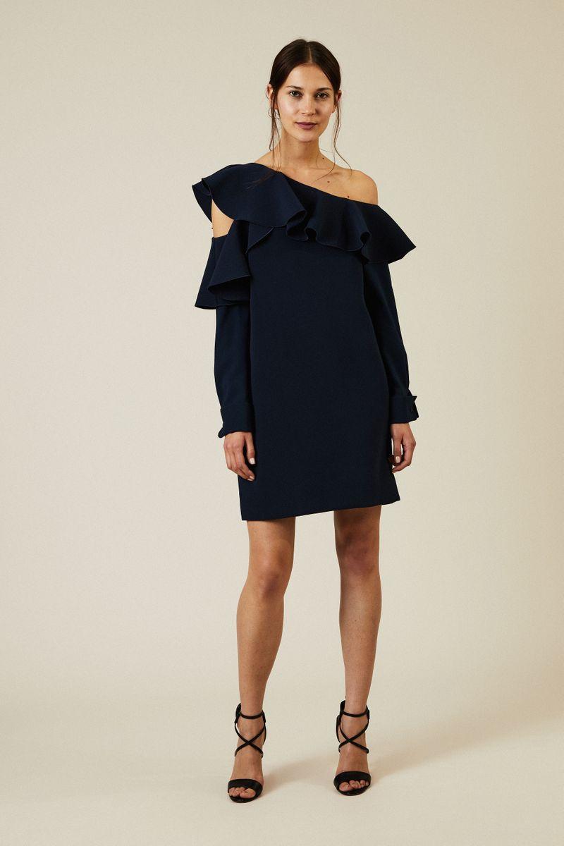 One-Shoulder Kleid mit Volant Marineblau