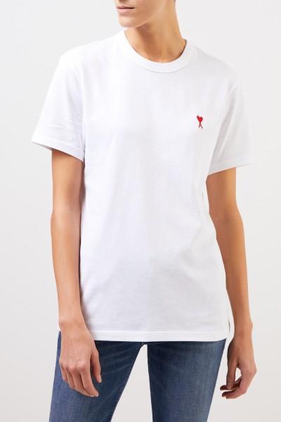 Ami Baumwoll-Shirt mit Logo-Detail Weiß