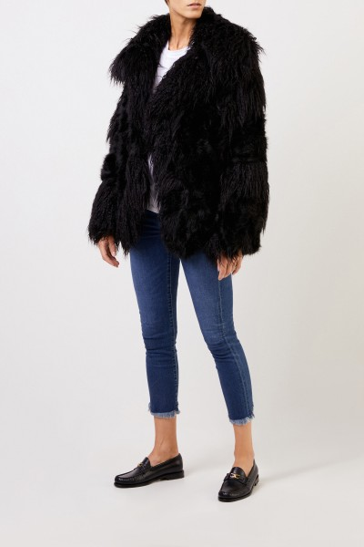 Longhair Faux For Jacket Black