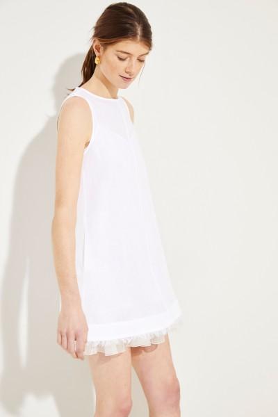 Leinen-Kleid 2-teilig mit Volant Weiß