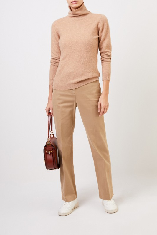 Allude Cashmere-Pullover mit Turtleneck Camel