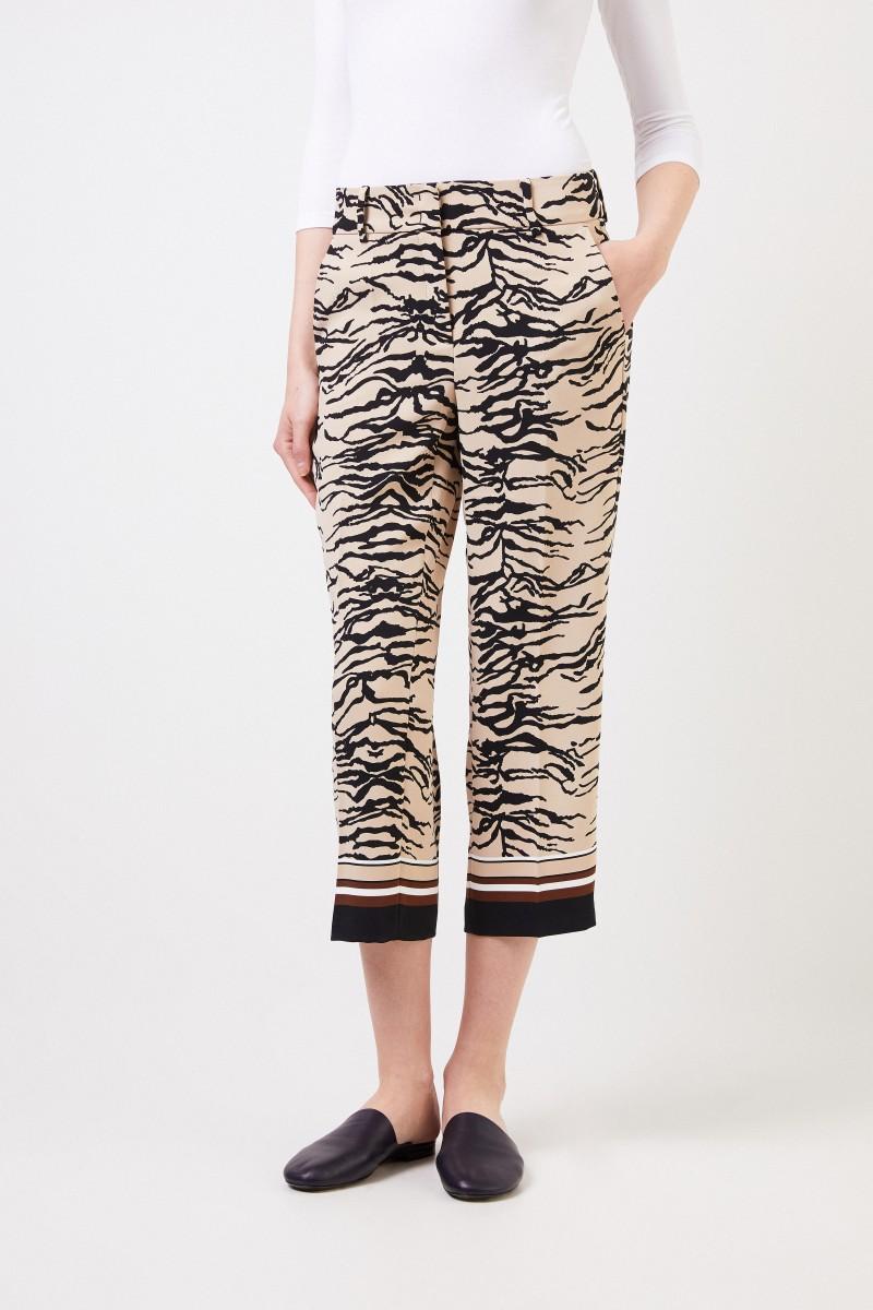 Cambio Hose 'Claire' mit Tiger-Print Beige/Multi