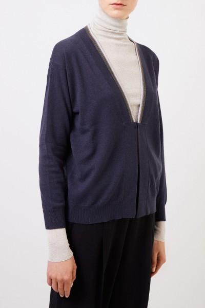 Brunello Cucinelli Cashmere-Cardigan mit Perlenverzierung Blau