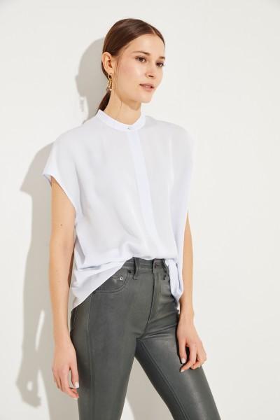 Seiden-Bluse mit Schlitz Blau