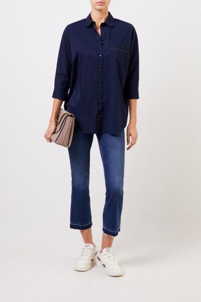 Oversize Bluse mit Verzierung in Marineblau