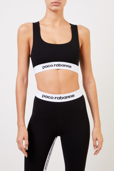 Paco Rabanne Sport top with logo Black