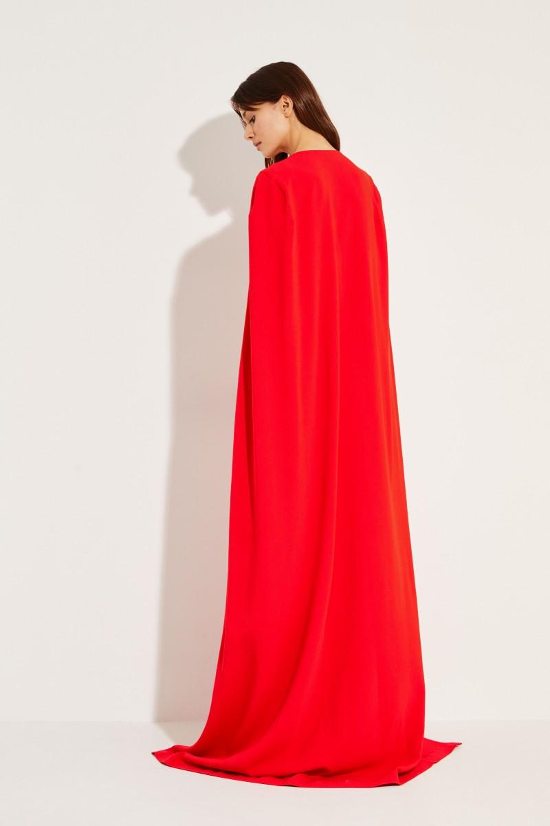 Langes Abendkleid mit Cape-Detail Rot