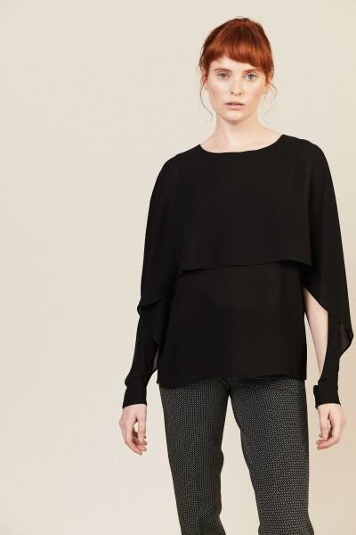 Bluse mit offenen Ärmel Schwarz