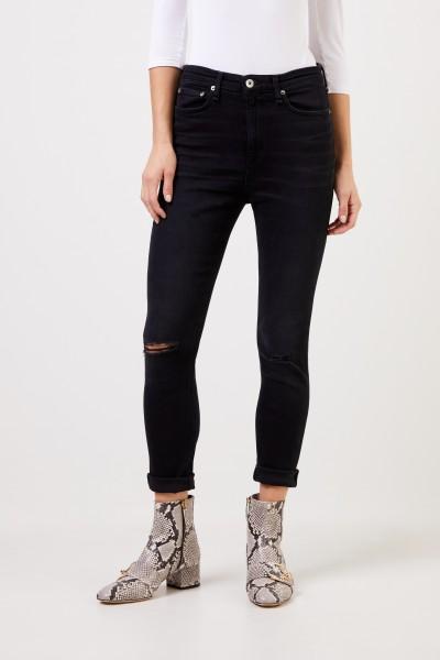 Rag&Bone Highrise Skinny-Jeans im Used-Look Schwarz