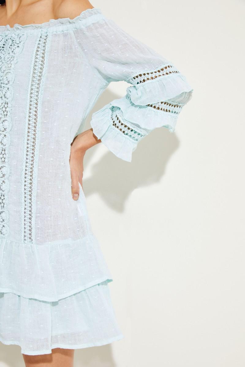 Minikleid mit Volant-Saum Aquablau