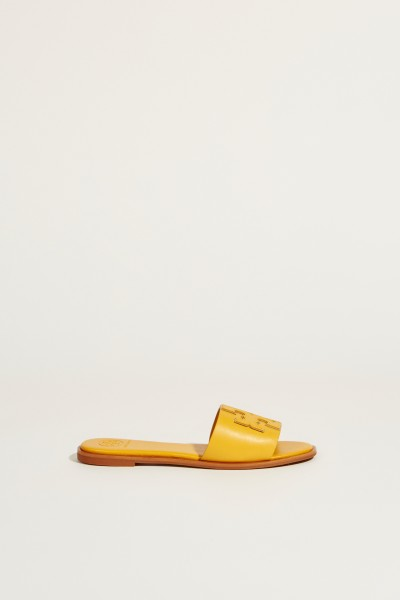 Leather sandal 'Ines' with logo yellow