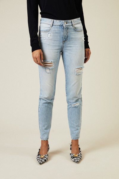 Destroyed High-Waist-Jeans Blau