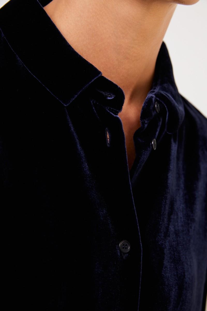 Aspesi Samt-Bluse Marineblau