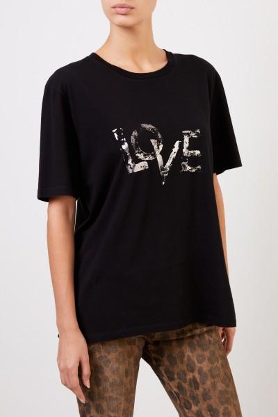 Saint Laurent T-Shirt mit Aufdruck Schwarz/Silber
