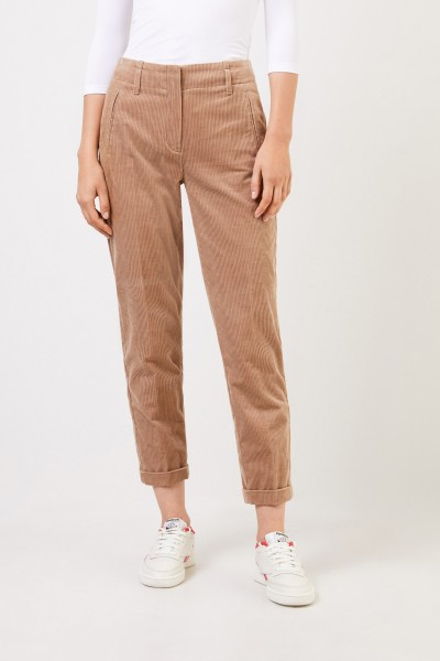 Cambio Cord trousers with hem turn Beige