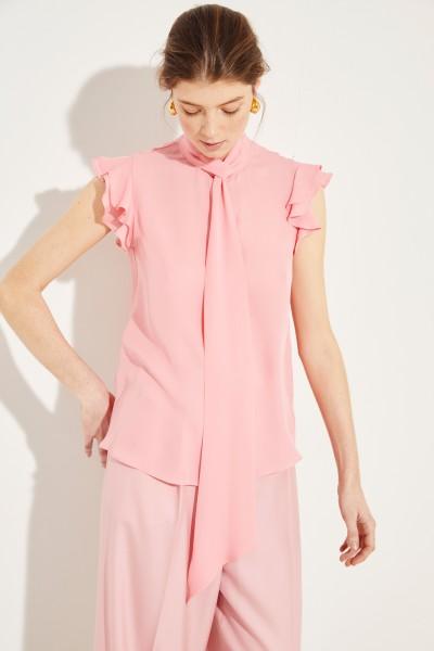 Seiden-Bluse mit Volants Rosé