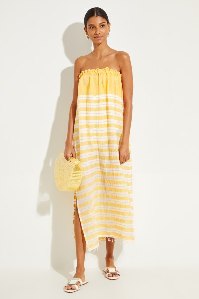 Cotton dress 'Doro Strapeless' with stripes Yellow/White
