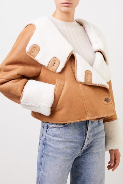 Loewe Lambskin jacket with hood Camel