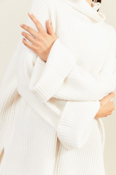 Oversize Cashmere-Pullover Weiß