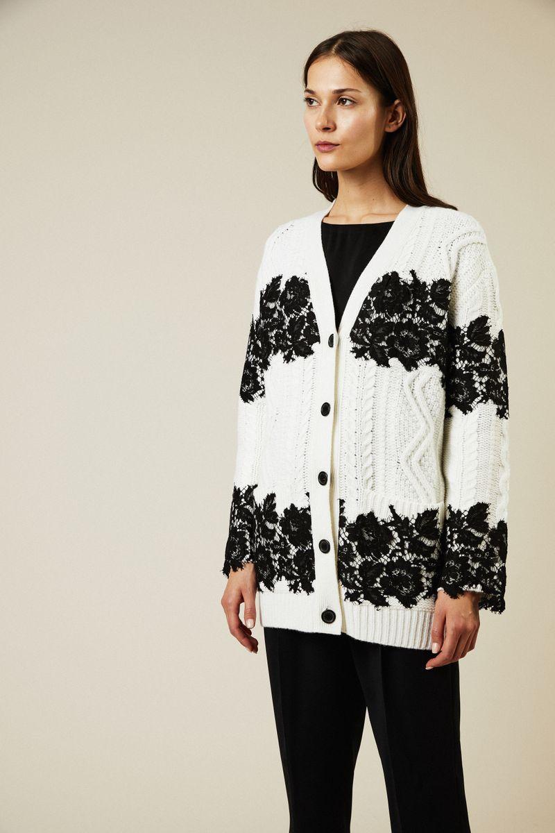 Woll-Cardigan mit Spitzenbesatz Weiß/Schwarz