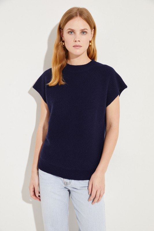 Kurzarm Woll-Cashmere-Pullover Marineblau