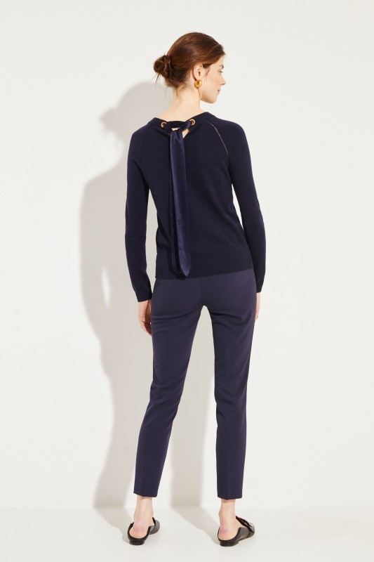 Woll-Cashmere Pullover 'Bow-Back' Blau