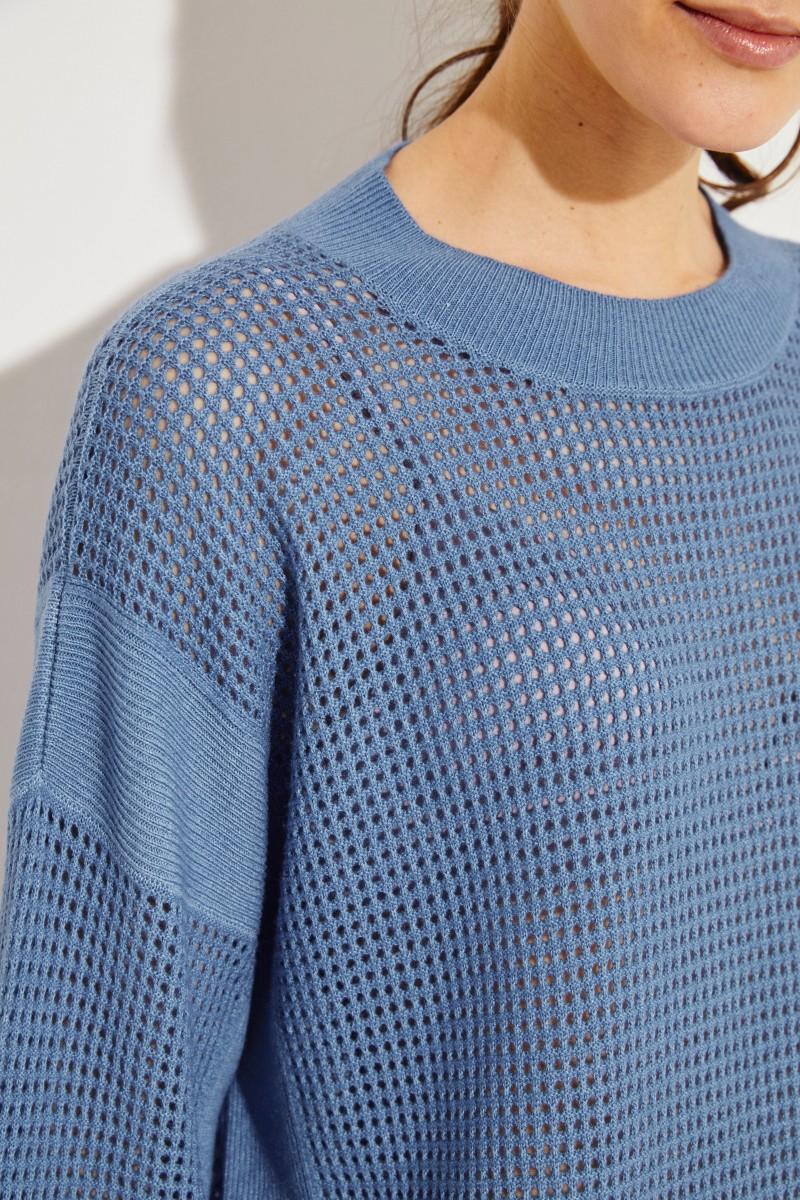 Cashmere-Pullover mit Lochmuster Blau