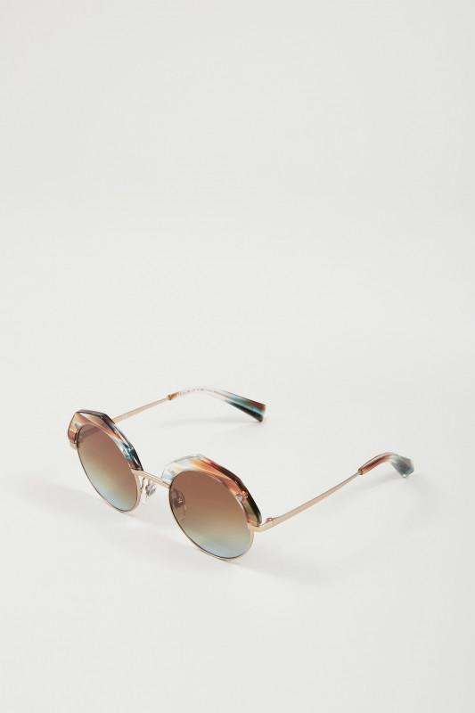 Abgerundete Sonnenbrille Gold/Blue/Braun