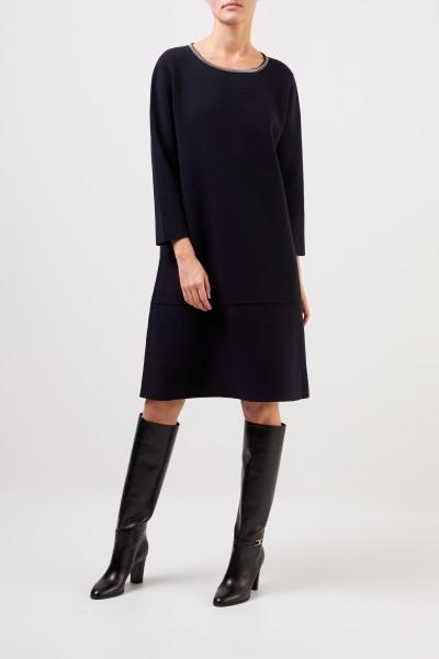 Fabiana Filippi Woll-Seiden-Kleid mit Perlenverzierung Marineblau