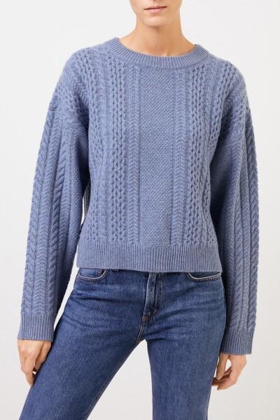 Uzwei Cashmere-Pullover mit Zopfmuster Denimblau
