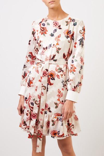 Tory Burch Dress with flounce and belt Créme/Multi