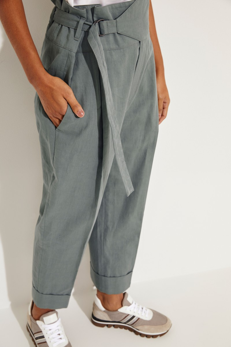Baumwoll-Leinen-Hose mit Gürtel Grün
