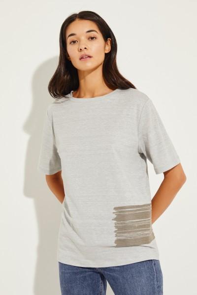 Leinen-Shirt mit Perlenverzierung Grau