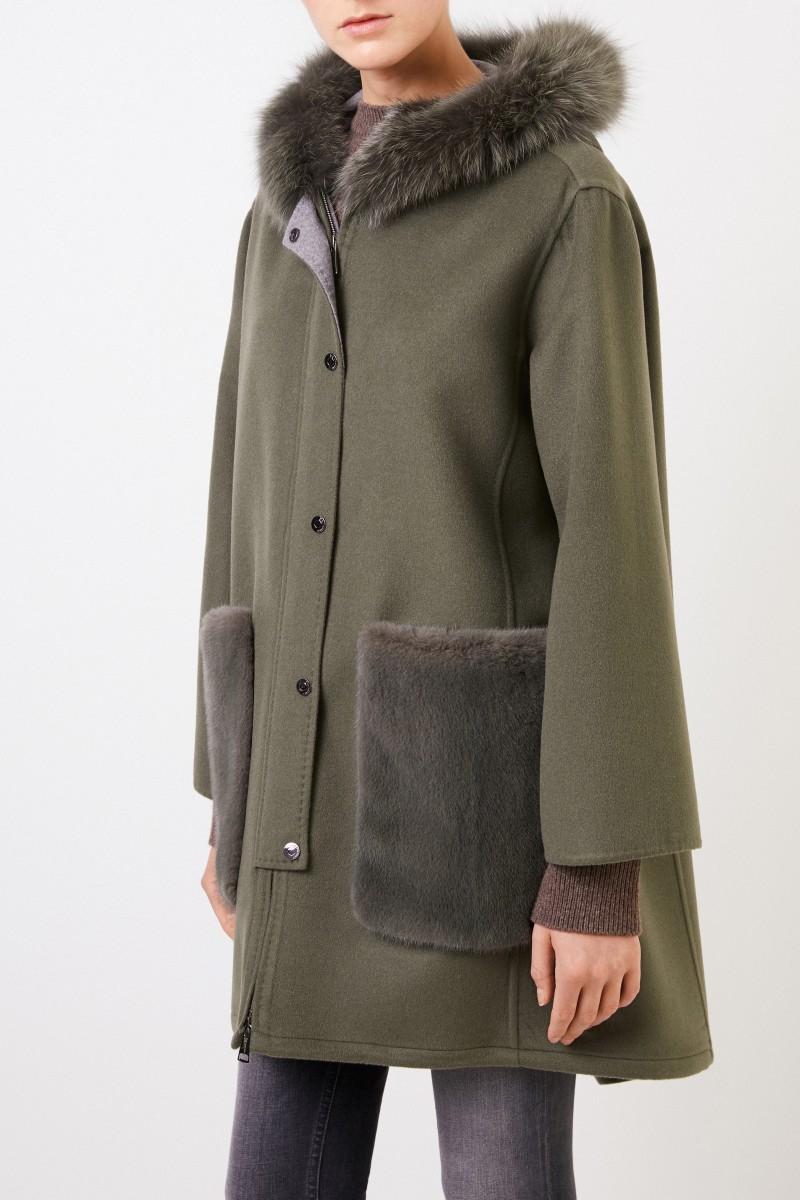 Manzoni 24 Woll-Cashmere-Mantel mit Nerzbesatz Grün