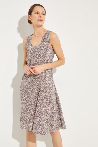 Gemustertes Seiden-Kleid Rot/Multi