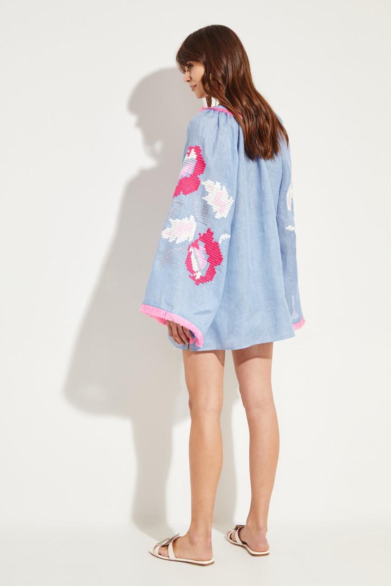 Leinen-Bluse 'Daniela' mit Stickerei Blau/Multi