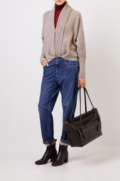 Wool cashmere cardigan with lurex details Beige