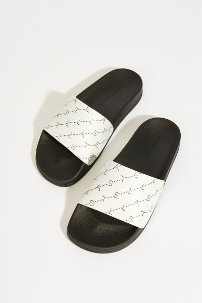 Sandale mit Logo-Schriftzug Weiß/Schwarz