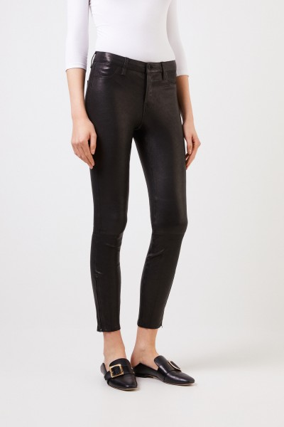 J Brand Leather pants with zipper details Black