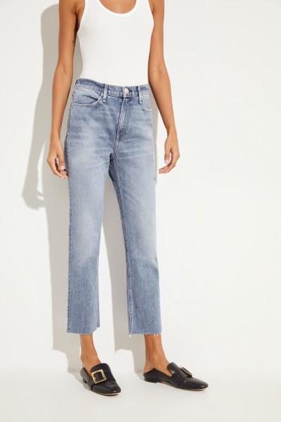 Jeans 'Ankle Cigarette' mit offenen Saumkanten Blau