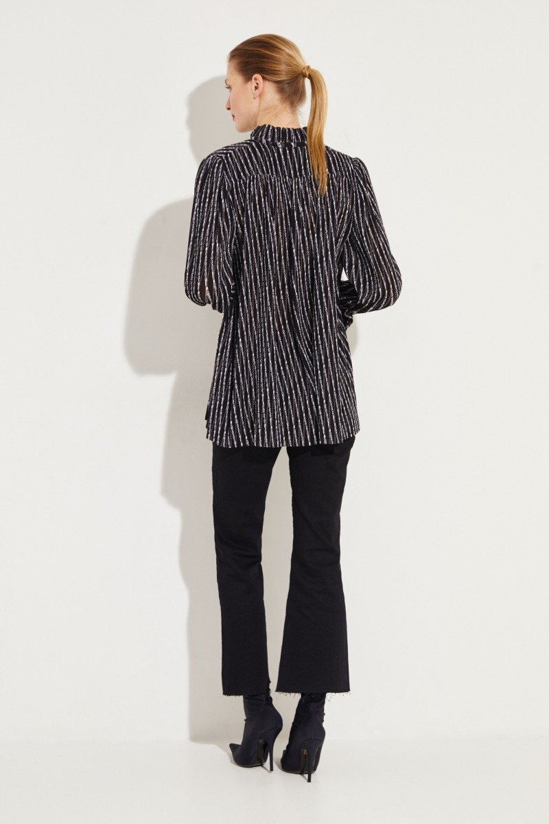 Plissee-Bluse mit Logo-Print Schwarz