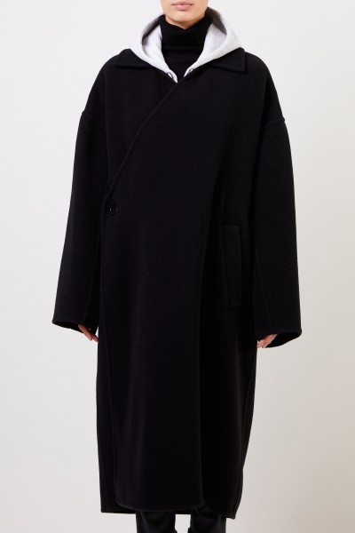 Balenciaga Long wool coat Black