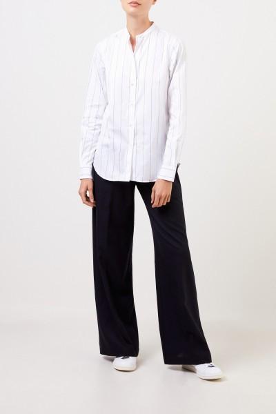 Aspesi Baumwoll-Bluse mit feinen Streifen Weiß/Blau