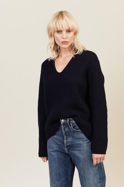 Oversize Woll-Pullover 'Deborah' Blau