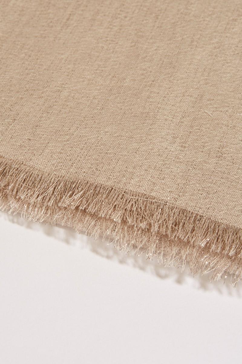 Cashmere-Seiden-Schal mit Lurexfäden Beige