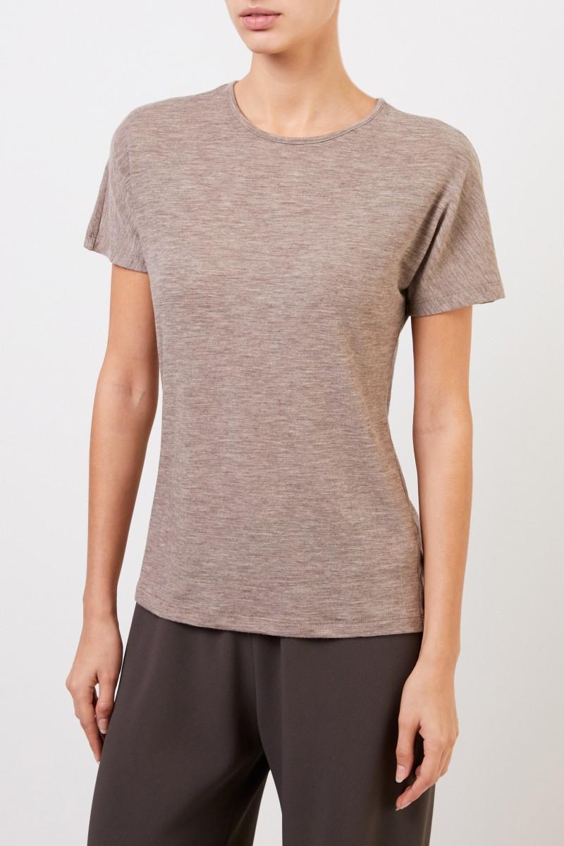 The Row Kurzarm-Cashmere-Shirt 'Landas' Taupe Melange