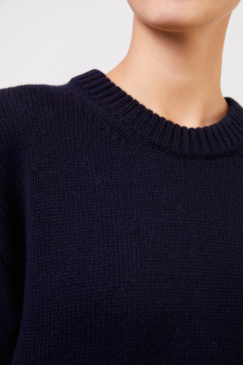 The Row Langer Cashmere-Pullover 'Vaya' Marineblau