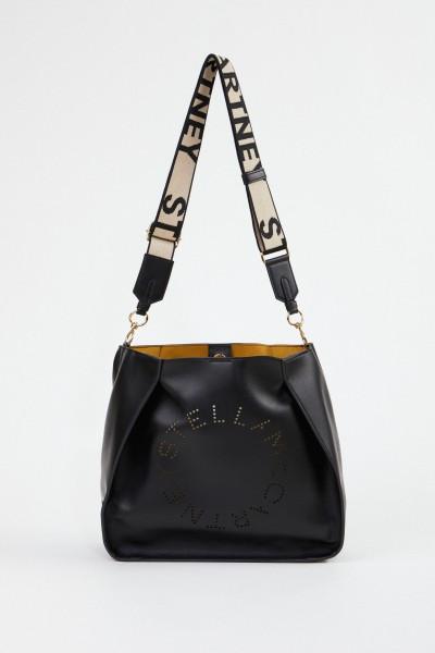 Stella McCartney Shoulder Bag with Logo Strap Black